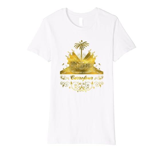 Amazon.com: Carrefour T Camisa de Haití Bandera de Haití Oro ...
