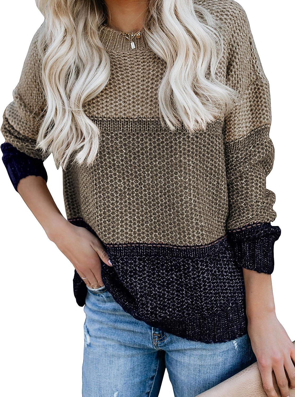 好評 CharmYee Womens Color Block 70%OFFアウトレット Oversized Sweater Striped Crew Neck