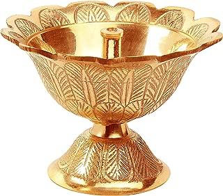 Avador Handmade Brass Indian Puja Oil Lamp, Golden Diya Lamp Engraved Design Diya for Diwali Pooja (Devdas 2