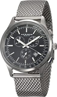 Akribos XXIV Men's Chronograph Tachymeter Scale Watch - Stainless Steel Mesh Bracelet