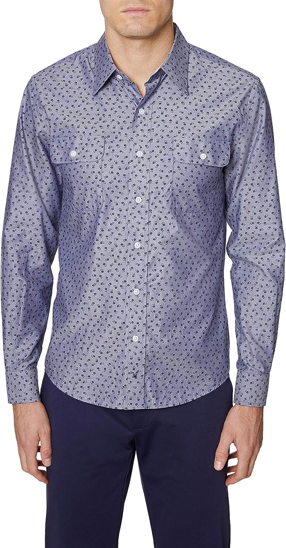 Hickey Freeman Men's Long Sleeve 2 Pocket Button Down Regular Fit Shirt