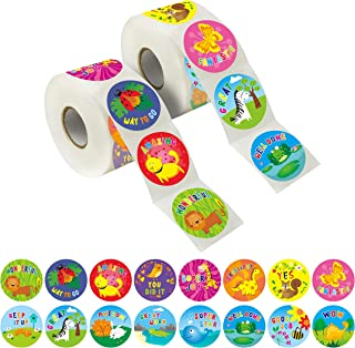 """1200 Teacher Reward Encouragement Motivational Sticker in 16 Animals Designs (Expanded Version with 1.5"""" Diameter)"""