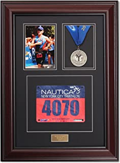 Triumph Marathon and Triathlon Photo, Finishing Medal and Race Bib Framing Kit – Library Mahogany