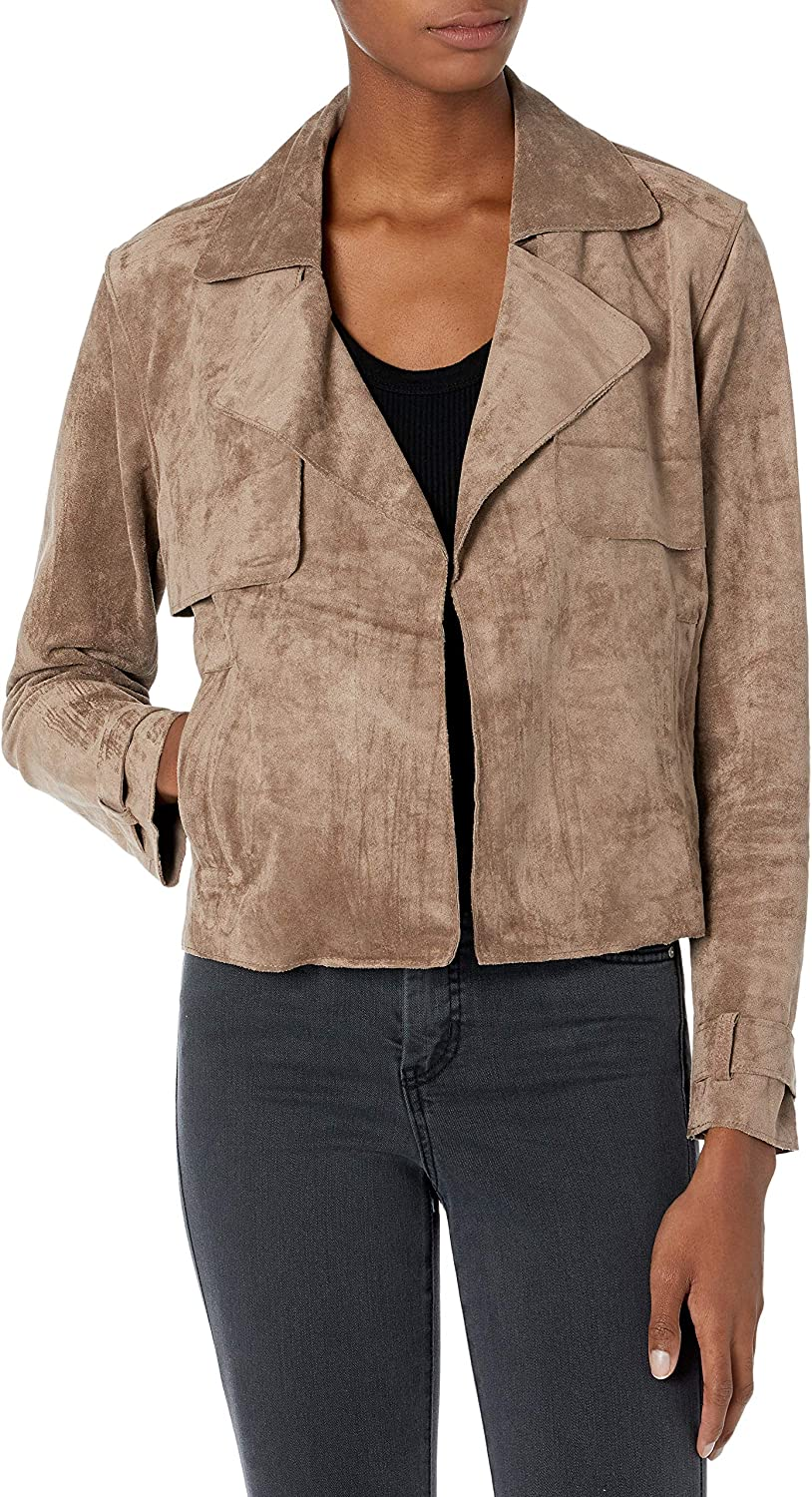 [BLANKNYC] womens [Blanknyc] Faux Suede Cropped Trenchcoat With No Closure