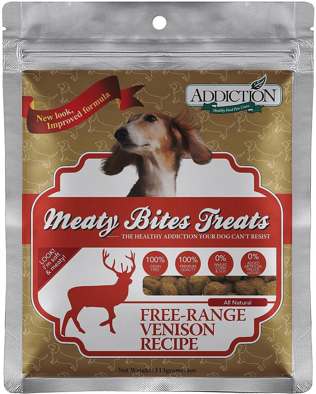 Addiction Venison Meaty Bites Grain Free Dog Treats, 4 Oz.
