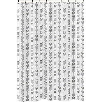 Sweet Jojo Designs Blush Pink and Grey Boho Bathroom Fabric Bath Shower Curtain for Aztec Collection