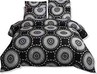 DasyFly 3PCS Bohemian Duvet Cover Queen Size Boho Bedding Sets,Mandala Exotic Circles Elephant Pattern Bedding Ultra Soft Microfiber Comforter Cover Black White Bed Sets