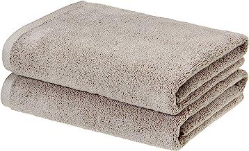 AmazonBasics Quick-Dry, Luxurious, Soft, 100% Cotton Bath Towels, Platinum - Set of 2