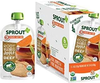 Sprout Organic Baby Food Pouches Stage 3, Organically Sourced Meat Protein, Root Vegetables Apple w/ Beef, 4 Ounce Pouches (Pack of 12)