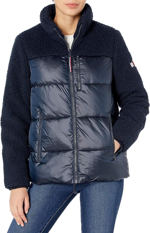 Tommy Hilfiger Women's Sherpa Mixed Media Puffer Jacket