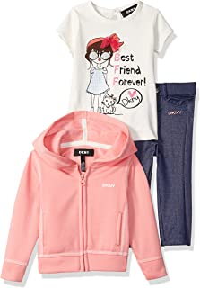 DKNY Baby Girls 3 Piece Best Friends T-Shirt, Hoodie, and Pant Set