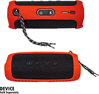 Alltravel Featured Silicon Sleeve for JBL FLIP 5 Waterproof Portable Bluetooth Speaker, More Protective and and Real Sound Design (Red)