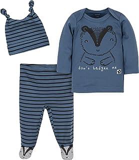 Grow by Gerber baby-boys Organic 3-piece Shirt, Footed Pant, and Cap Set
