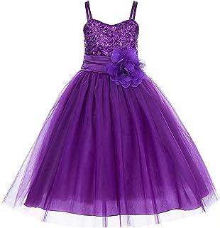 spaghetti strap tulle flower girl dress