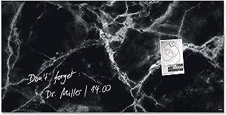 SIGEL GL322 Lavagna magnetica di vetro/bacheca di vetro Artverum, Design Black-Marble, 91 x 46 cm