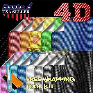 Free Tool Kit Chrome Silver 4D Carbon Fiber Gloss Shiny Car Vinyl Wrap Sticker Decal Film Sheet Bubble Free Air Release - 12