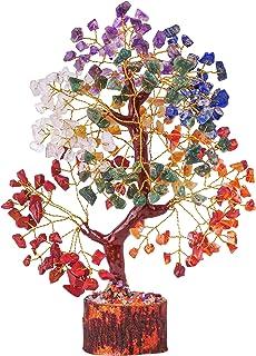 DIPRUV Seven Chakra Crystal Gemstone Tree of Life Healing Reiki Balancing Generator Good Luck Spiritual Gifts Bonsai Home ...