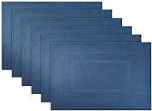 "DII Everyday, Easy to Clean Indoor/Outdoor Woven Vinyl Double Border Placemats, 13x17.75"", Nautical Blue - Set of 6"