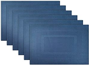 DII Everyday, Easy to Clean Indoor/Outdoor Woven Vinyl Double Border Placemats, 13x18, Nautical Blue - Set of 6