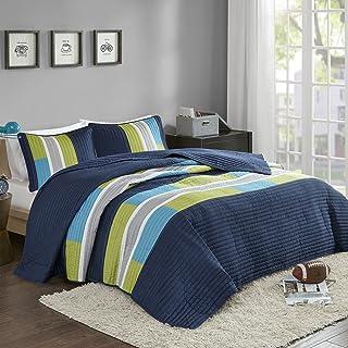 Comfort Spaces 3 Piece Quilt Coverlet Bedspread All Season Lightweight Hypoallergenic..