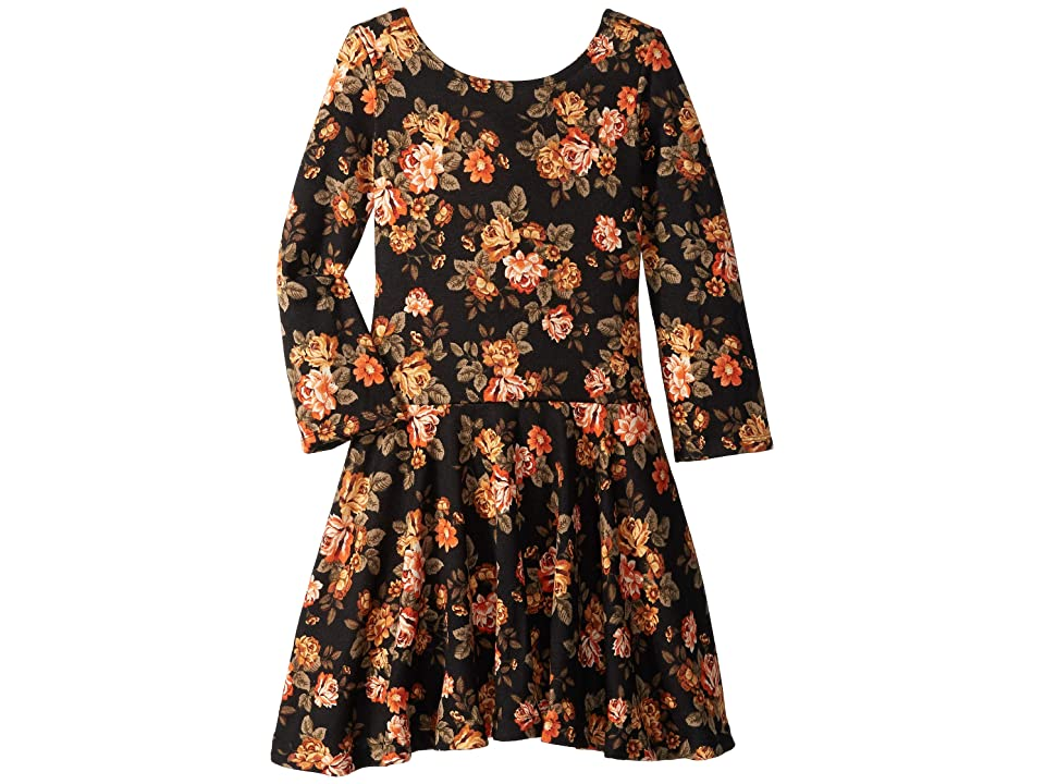 fiveloaves twofish Judy Floral Knit Dress (Toddler/Little Kids/Big Kids) (Black) Girl