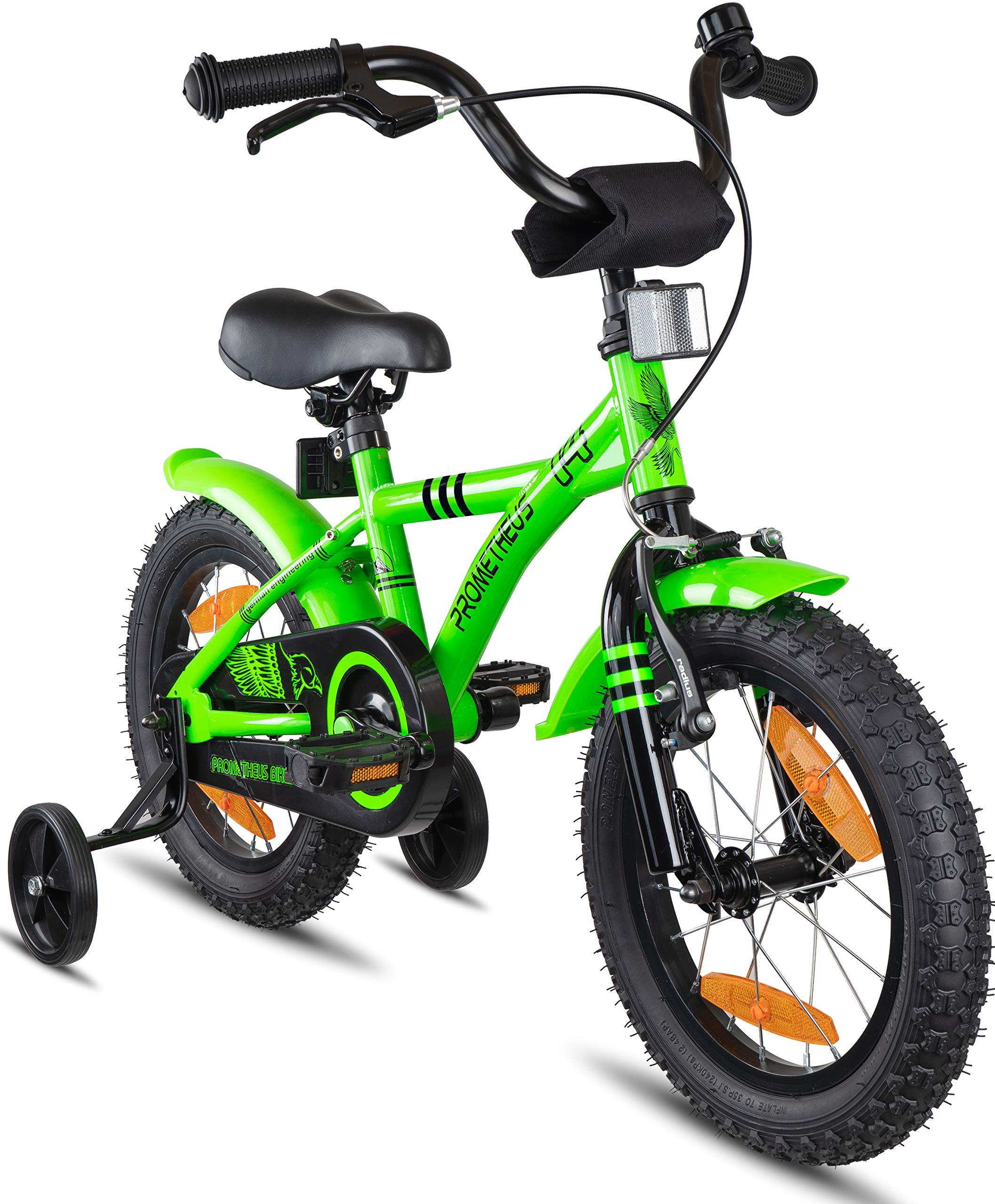 Prometheus Bicicleta Infantil | 14 Pulgadas | niño y niña | Verde Negro | A Partir de 4 años | con ruedines y Freno de contrapedal | 14