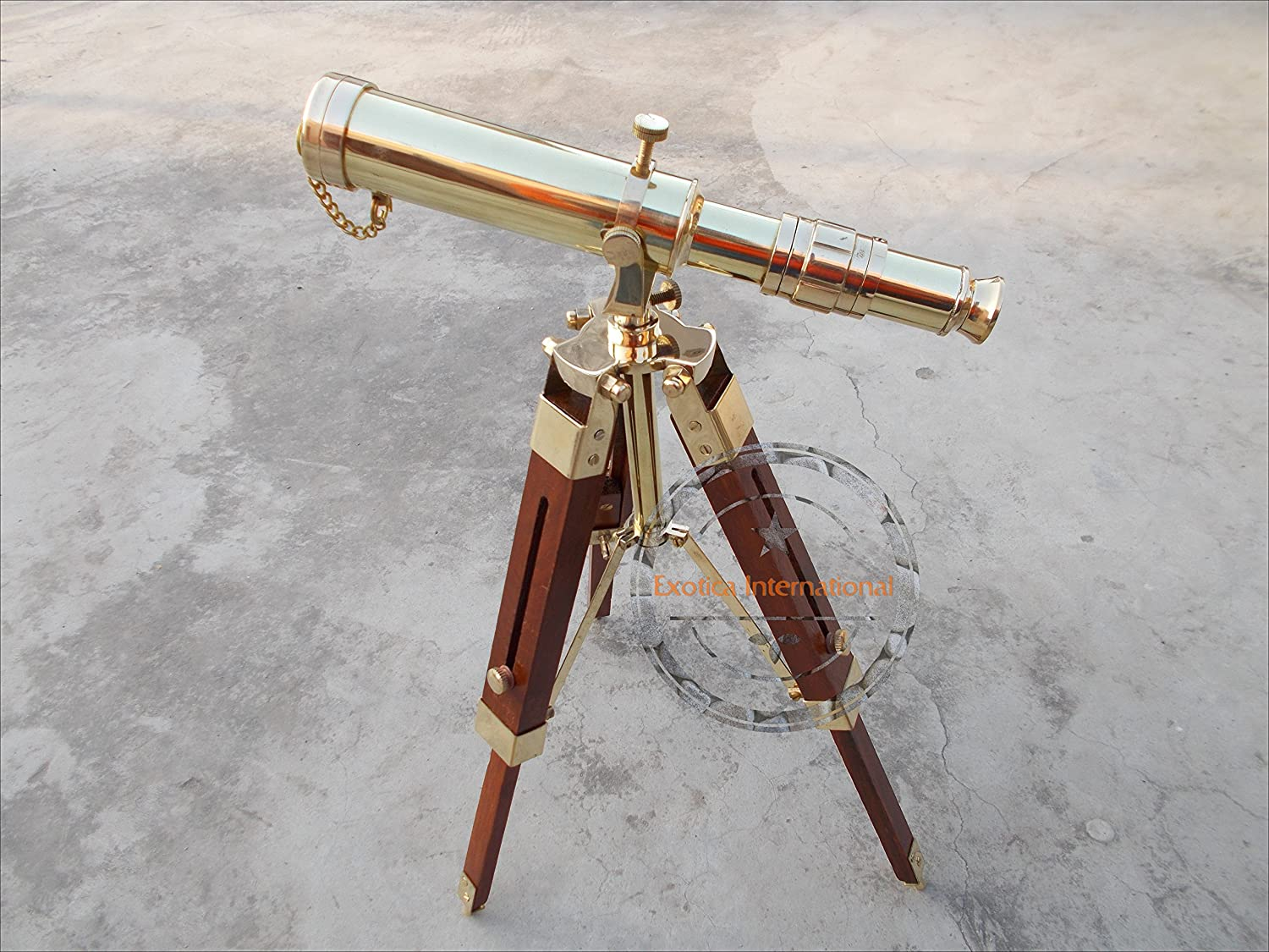 Brass Polished Finish Telescope Spyglass with Wooden Tripod Nautical 10  inch Home Decor Gift Vintage Brass Telescope on Desktop for Table Accessory Handmade