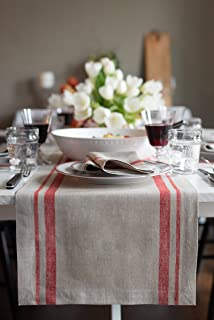 Solino Home French Stripe Table Runner – 14 x 90 Inch, 100% Pure Linen Natural Fabric – Natural/Red
