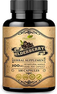 Sponsored Ad - HERBALICIOUS Elden Berry Capsules - Organic Elderberry Dietary Supplement - Promotes Digestive Health, Immu...