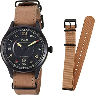 Men's Battle of Britain Stainless Steel Japanese-Automatic Aviator Watch with Leather Strap, Brown, 22 (Model: AV-4046-03)