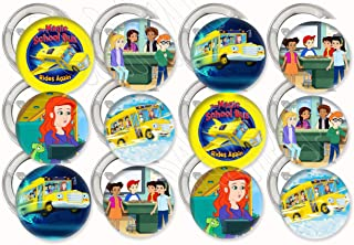 """Magic School Bus Rides Again Buttons Party Favors Supplies Decorations Collectible Metal Pinback Buttons, Large 2.25"""" -12 pcs Ms. Fiona Frizzle Keesha Dorothy Ann Wanda Jyoti Carlos Ralph"""