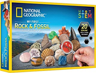 NATIONAL GEOGRAPHIC Rock & Fossil Collection - Rock Collection for Kids, 20 Rocks and Fossils with Shark Teeth, Agate, Ros...