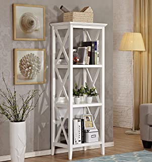 Mixcept 59'' Solid Pine Wood Bookshelf 3 Tier Bookcases Storage Rack Shelving Unit Display Shelf for Home & Office, White