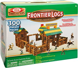 Ideal Frontier Logs 300 Piece Classic Wood Construction Set with Action Figures