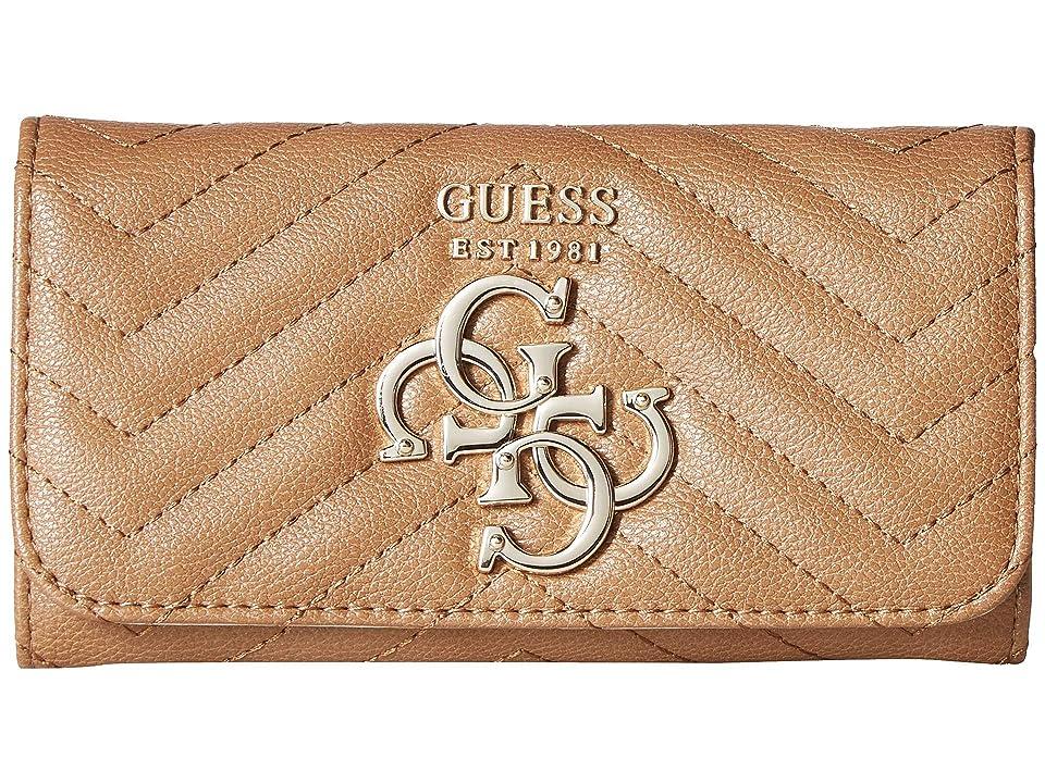 GUESS Violet SLG Slim Clutch (Tan) Wallet Handbags