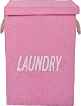 EOWQON® 72L Foldable Large Fabric Laundry Bag with Lid and Rope Handles (Pink)