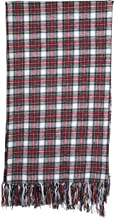 """Creative Co-op 60"""" Brushed Cotton Fringe & Plaid Pattern Throw, Red"""