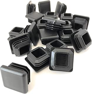 1 Inch Square Tubing End Caps (20 PK) (10-14 Gauge For Thicker Wall Tubing) Plastic Plugs/End Caps/Plastic End Caps/Plastic Plugs For Square Tubing/Black Plastic Square Plugs