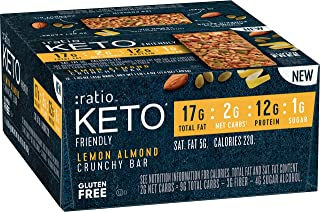 :ratio KETO friendly Lemon Almond Crunchy Bar, Gluten Free, 12 ct Box