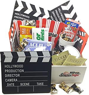 Ultimate Movie Night Gift Basket/Box with 2 Red Box Movies & filled with Snacks & Movie Props. Great for Date Night/Anniversary/Teachers/As a Thank You/Coaches/Parents/College Kids. Makes a great gift