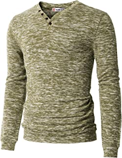 H2H Men's Casual Long Sleeve Tops V-Neck with Buttons T-Shirt