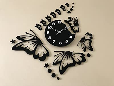 """Bhavnath Creation BUTTERFLY CLASSIC Antique collection Acrylic wall clock for Home and Office, Size: 36"""" x 24""""-Inches, B-06"""