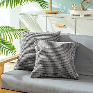 Pack of 2 CaliTime Comfy Throw Pillow Covers Cases for Couch Sofa Bed Comfortable Supersoft Corduroy Corn Striped Both Sid...