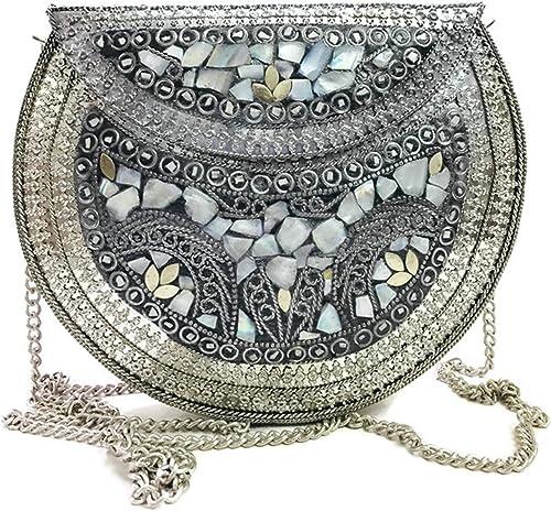 Silver Shell Nacre Stone Bag Ethnic Clutch Indian Antique Purse Mosaic Bag Metal Bag Girls Gift