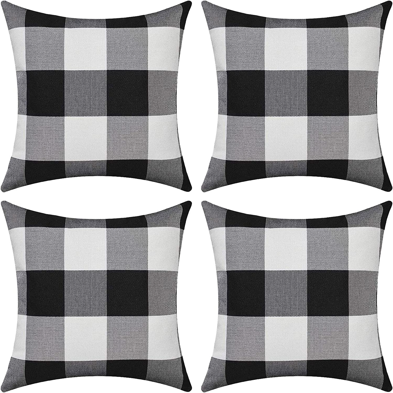 SEEKSEE Set of Large-scale sale 4 Farmhouse Buffalo Inventory cleanup selling sale Pillow Cove Plaid Check Throw