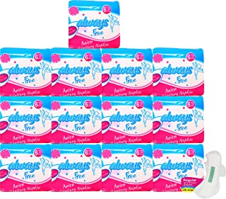 Always Free Alwaysfree Anion Ultra Thin Sanitary Pad/Napkins with Wings – Anti-Bacterial & Biodegradable- (L or Regular-24...