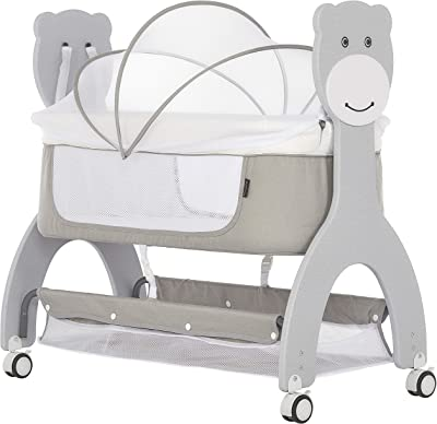 Dream On Me Cub Portable Bassinet | Rocking Cradle | Best for Small Living Space | Compact Portable Bassinet, Grey