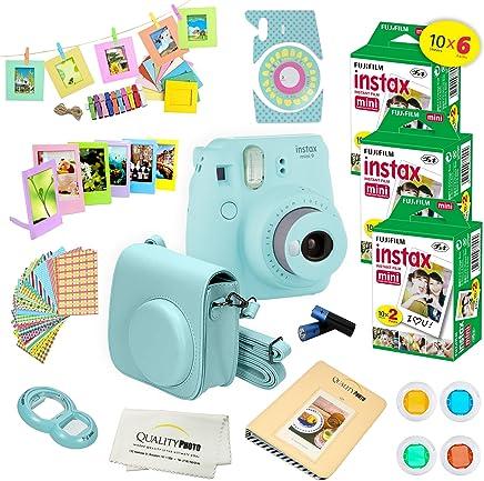 Fujifilm Instax Mini 9 Instant Camera ICE BLUE w/ Fujifilm Instax Mini 9 Instant Films (60 Pack) + A14 Pc Deluxe Bundle For Fujifilm Instax Mini 9 Camera