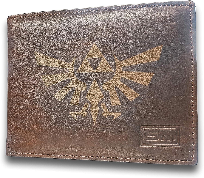Legen of Zelda Genuine Cowhide Leather Laser Engraved Engraving Slimfold Mens Large Capacity Luxury Wallet Purse Minimalist Sleek and Slim Brown Card Holder Organizer 14 Pockets