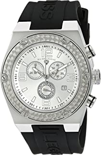 Men's SL-30025-02S Throttle Black/Silver Silicone Watch
